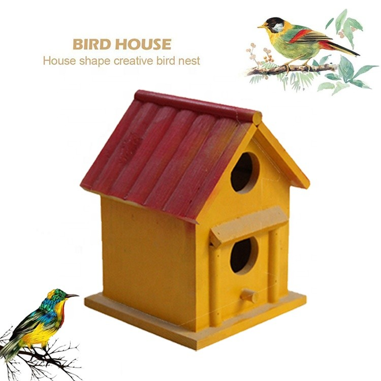 wholesale quality colorful wooden bird nest,decorated wooden carved birds house arts crafts
