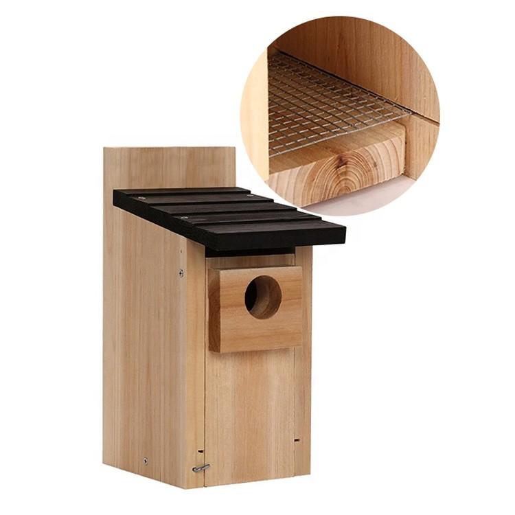 Hot sales customized size outdoor bird house wood,indoor outdoor garden patio yard wooden hanging bird box