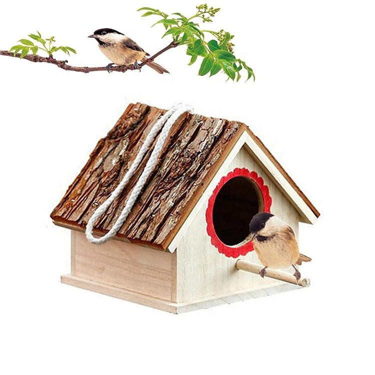 100% natural wood lightweight and durable quality handmade bird house 6.29x6.88x5.9 inches