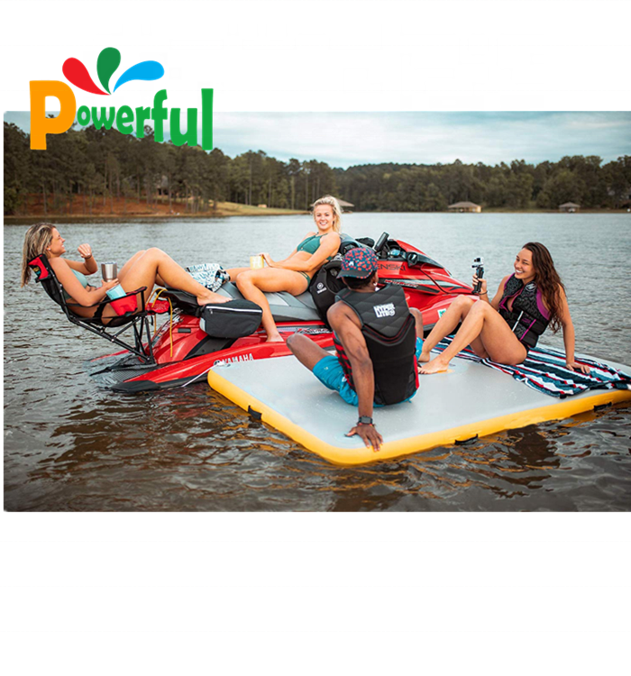 4mx2m Inflatable Swimming Deck Inflatable Floating Water Pad For Boat / Beach