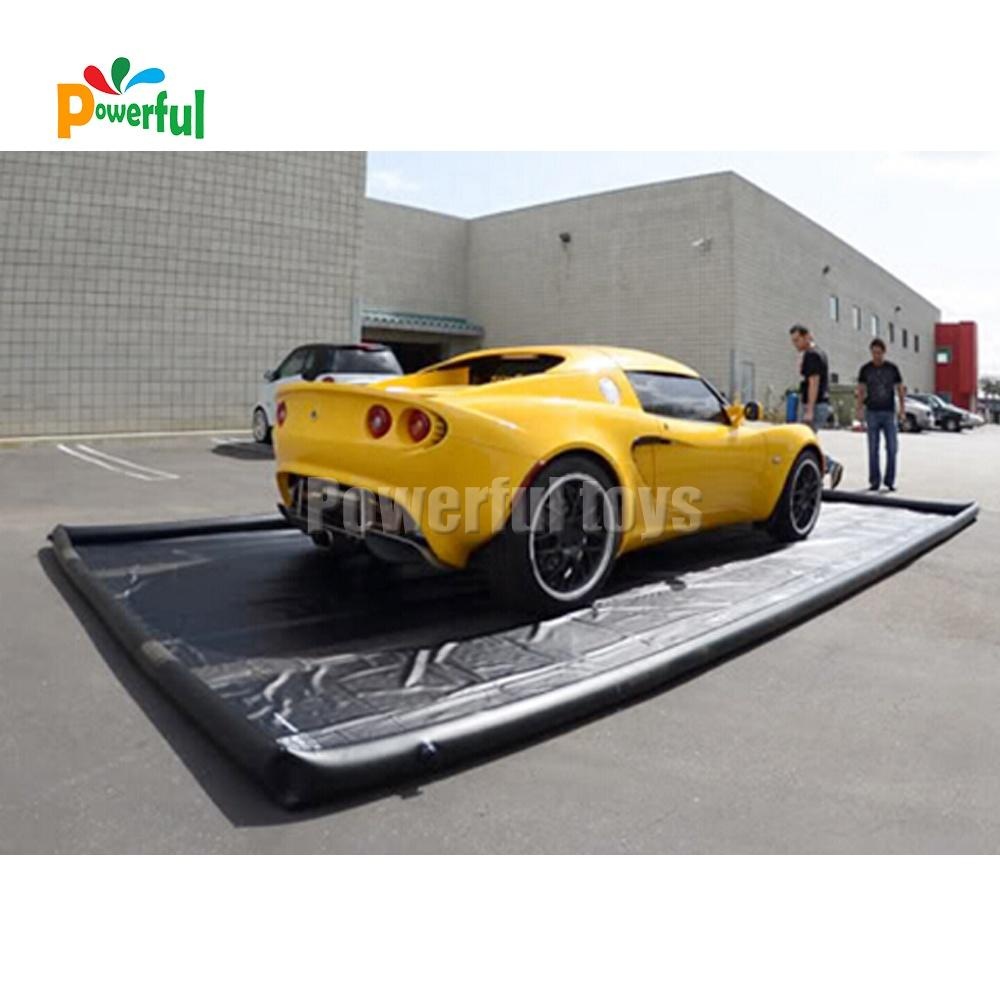 Water reclamation system inflatable car wash mat water containment mat for car cleaning