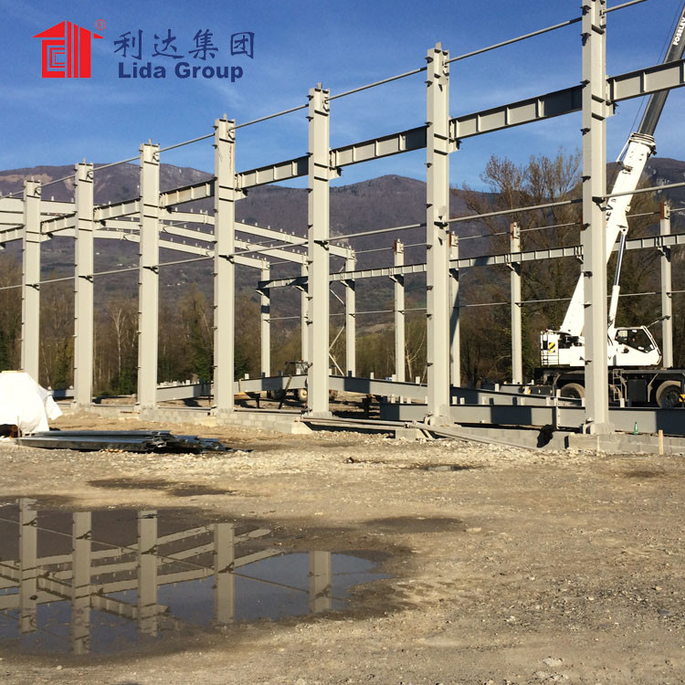 prefabricated large span steel space frame structure warehouse