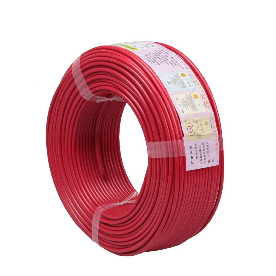2.5mm 6mm electrical cable copper wire ZCBV 1.5 electric wire bv single core black pvc wire in foshan