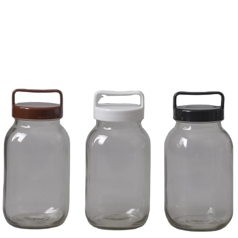 Glass storage jar with colored plastic lids food safe