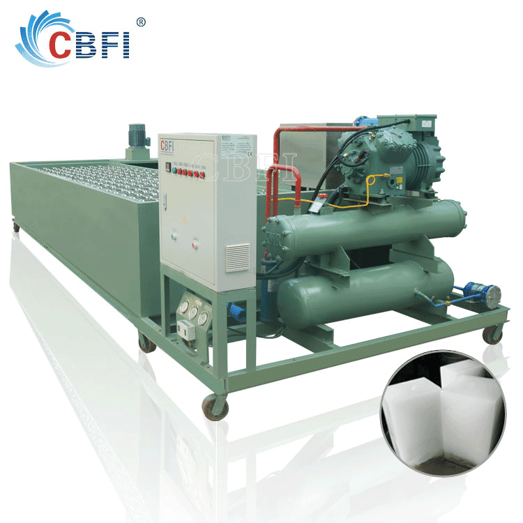 1 ton to 100 tons Block Ice Machine Maker Freon system made by CBFI coil evaporator