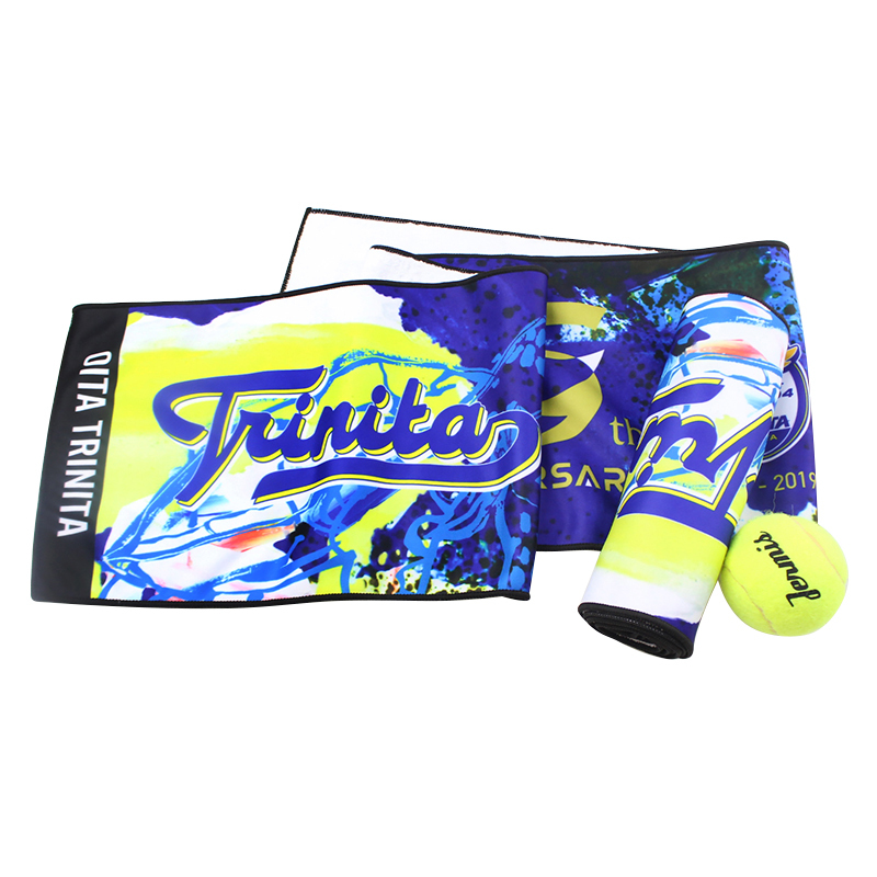 Custom trend fast drying microfiber sport towel coral fleecy composite print sport towel