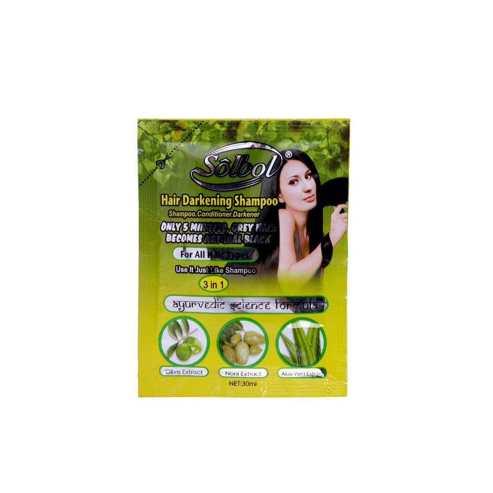 New privat brand 3 in 1 black hair herbal greennatural black hair color shampoo designed