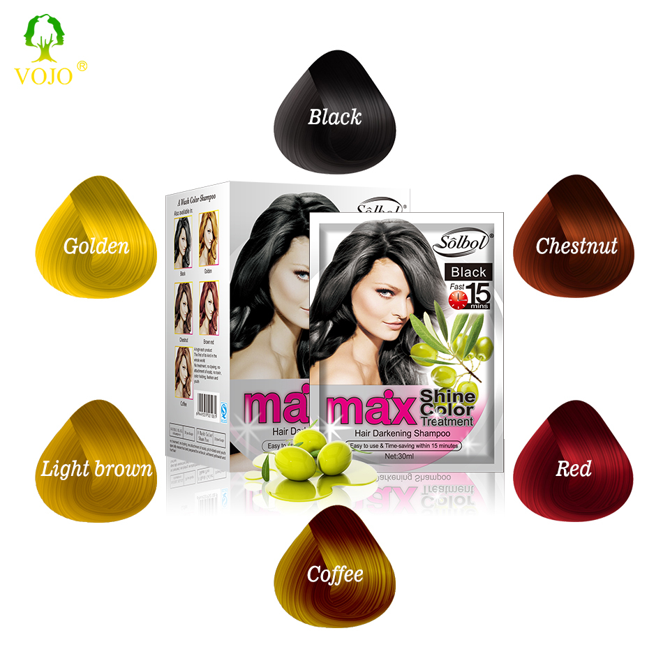 VOJO manufacturer wholesale magic black hair color dye shampoo with comb oem odm