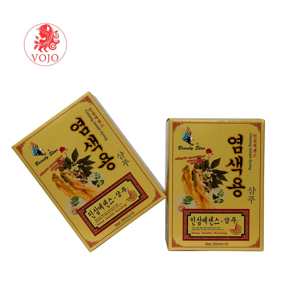 Korea hot sells ginseng natural eagle black hair dye shampooin 5mins grey hair becomes black hair