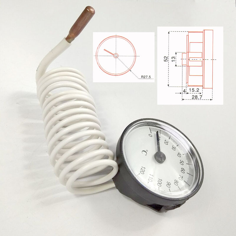 Industrial Dial Steam Boiler Capillary Thermometer Temperature Gauge with Probe