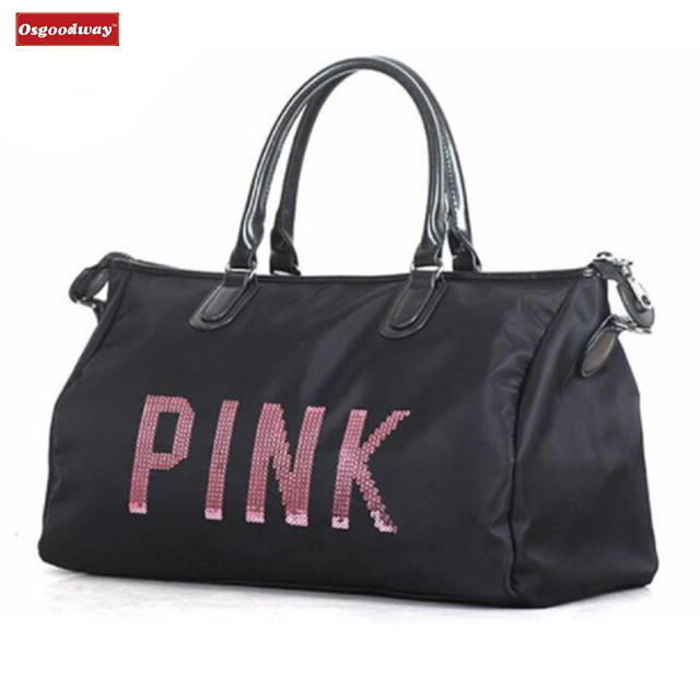 Osgoodway Newest Design Sequins PINK letters Gym Fitness Sports Bag Shoulder Crossbody Bag Women Tote Handbag Travel Duffel Bags