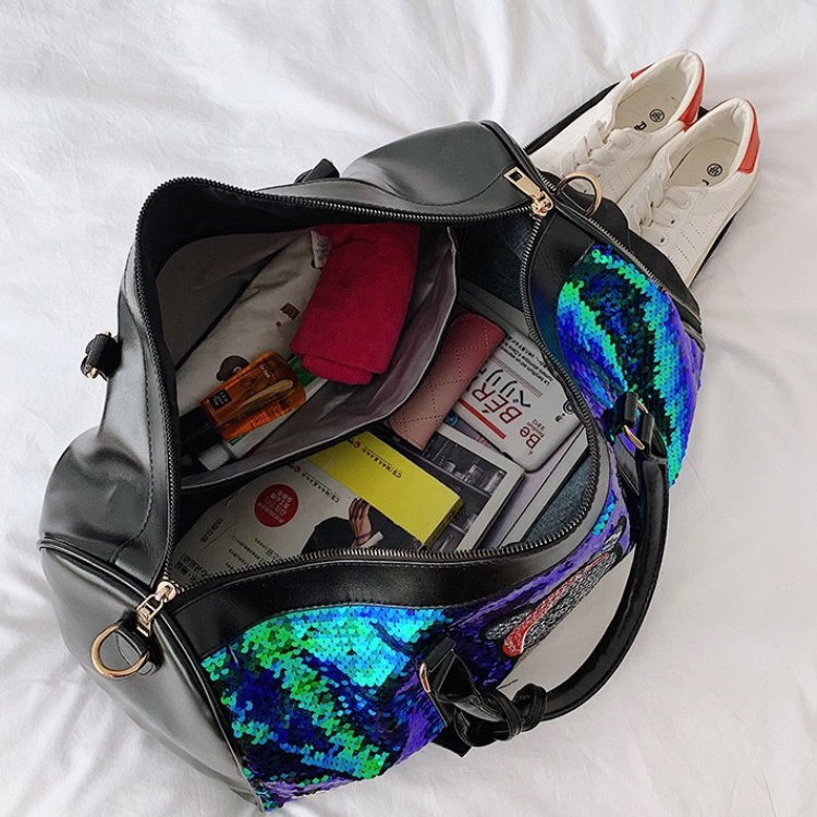 product-Osgoodway-Osgoodway2 Fashion Shiny Sequin Large Weekend Travel Duffel Tote Bag Girls Sports