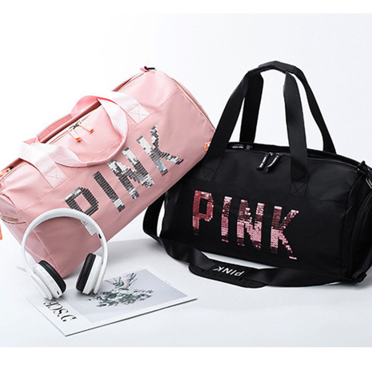 product-Osgoodway2 Waterproof Sports Swim Women Gym Bag Pink Travel Duffel Bag with Dry Wet Separati-1