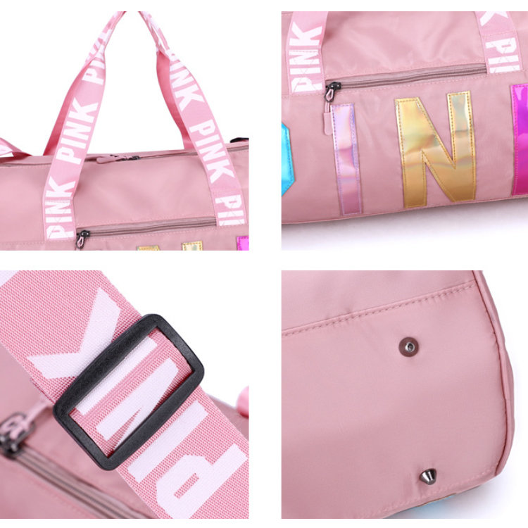 product-Osgoodway-Osgoodway2 Stylish Sport Duffel Bag Women Weekend Portable Glitter Wholesale Pink