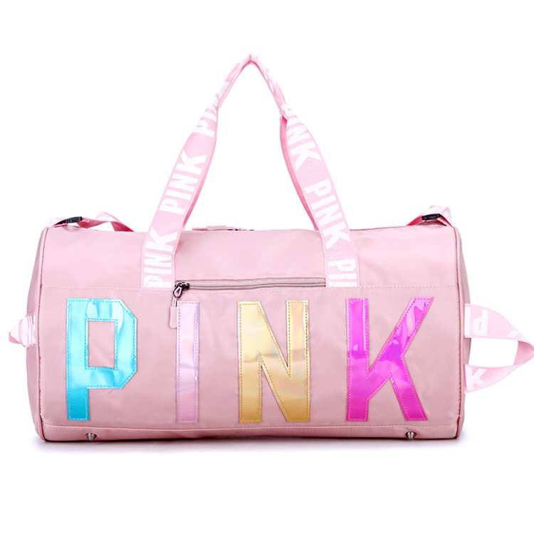 Osgoodway2 Hot Selling Wholesale Gym Bag Waterproof Women Pink Overnight Weekend Gym Travel Duffel Bag