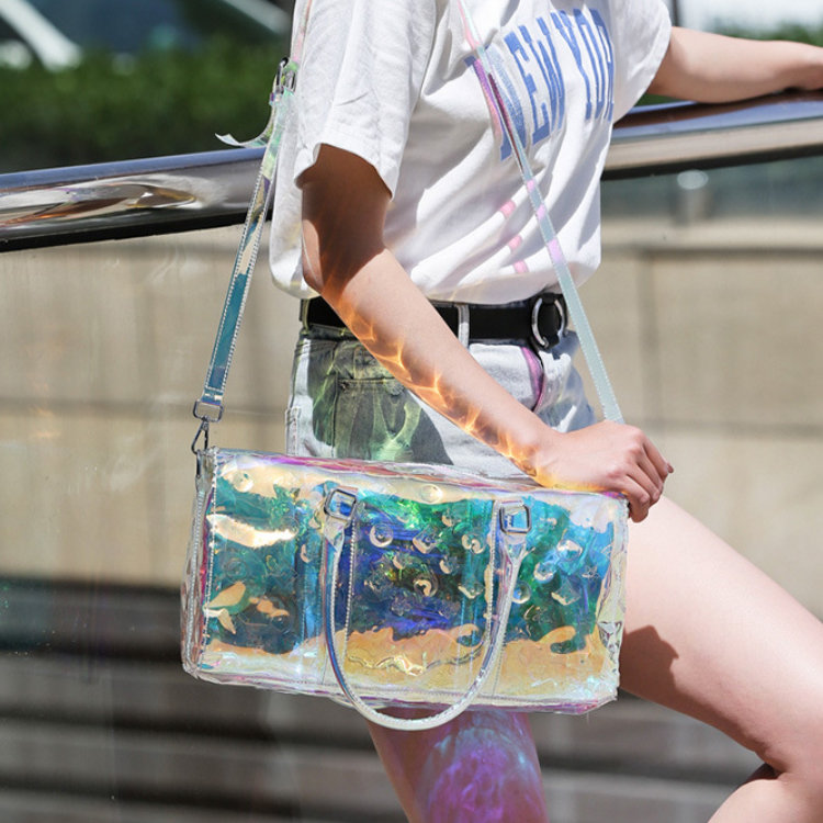 product-Osgoodway 2020 Fashion Summer Duffel Tote Bag Women Trendy Overnight Transparent PVC Hologra-1