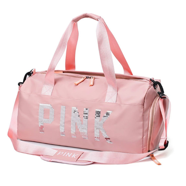 Osgoodway2 Waterproof Sports Swim Women Gym Bag Pink Travel Duffel Bag with Dry Wet Separation Pocket