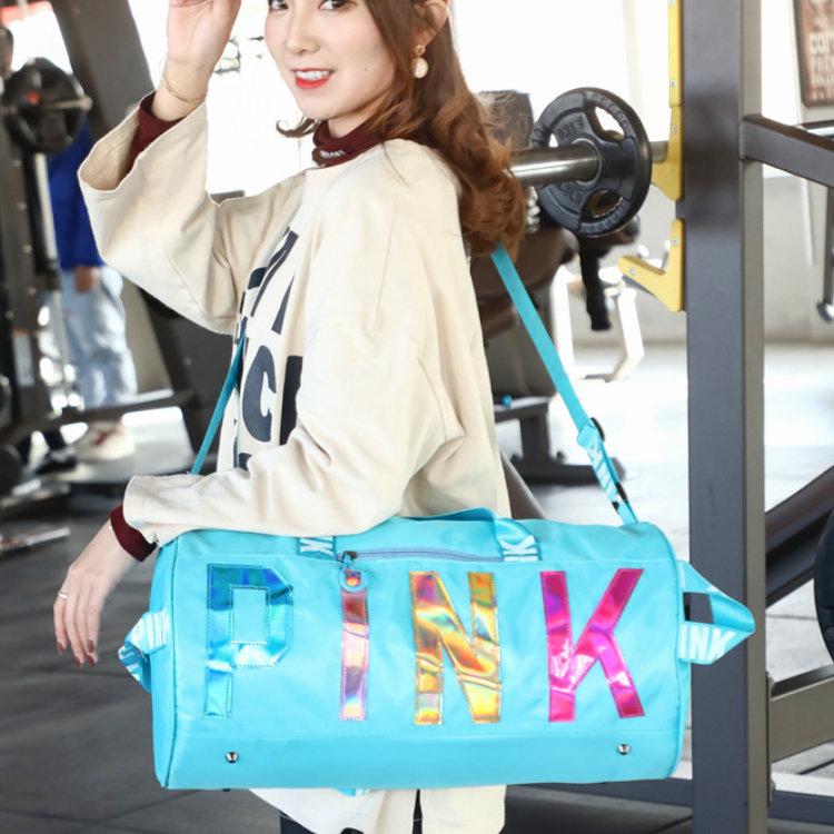 product-Osgoodway2 Stylish Sport Duffel Bag Women Weekend Portable Glitter Wholesale Pink Gym Duffle-1