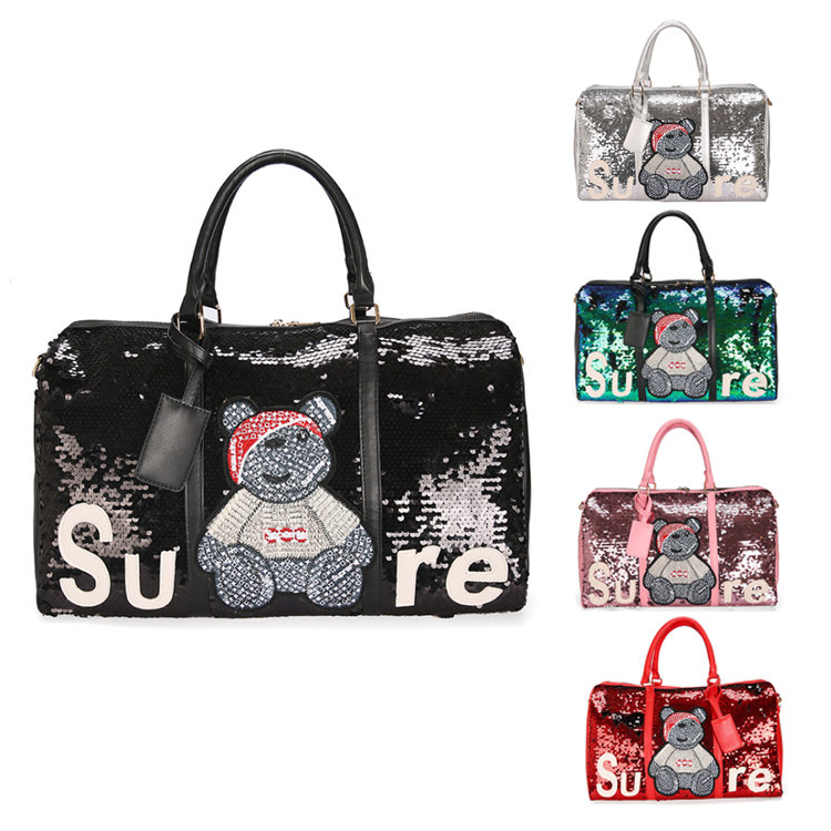 Osgoodway2 Fashion Shiny Sequin Travel Luggage Bag Yoga Sport Duffel Bag Workout Gym Bag For Girl