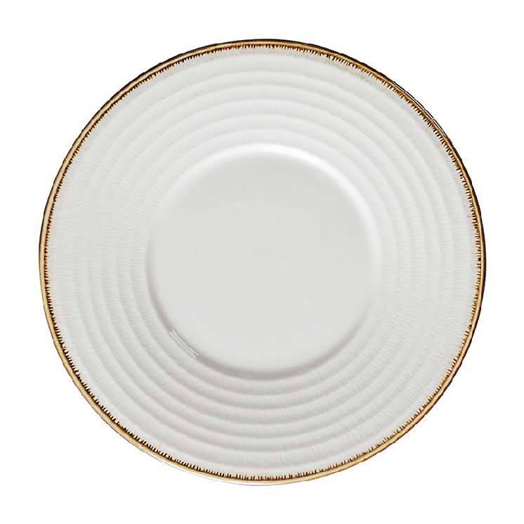 Hot Sale Custom Restaurant Colorful Rim Eco Friendly White Porcelain Ceramic Flat Plate/