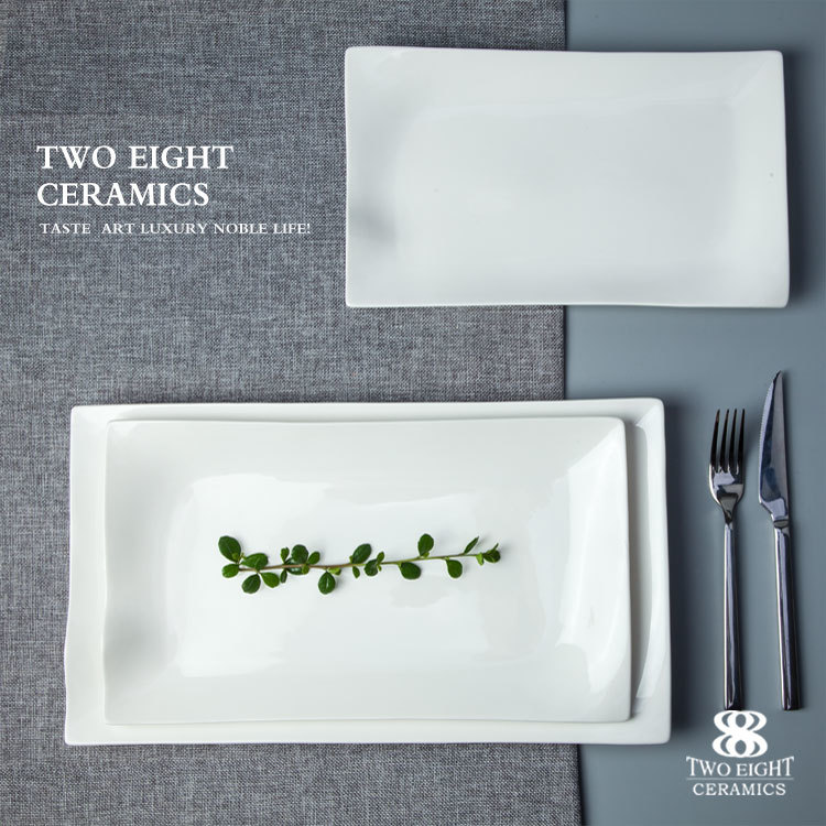 Hotel Rectangle Ceramic Plate, Japapese Rectangular Plates Ceramic, Restaurant White Rectangular Dishes&