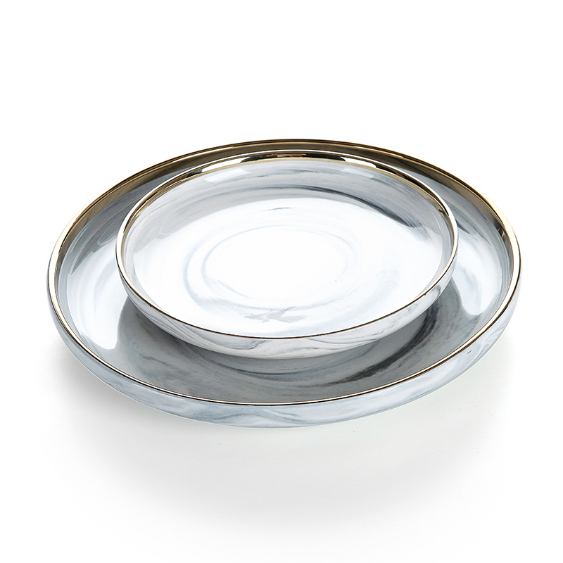 Hotel Supplies Gold Rim Grey Marble Dish, Restaurant Supplies Gold Rim Grey Marble Dish, Marble Dinner Plate>