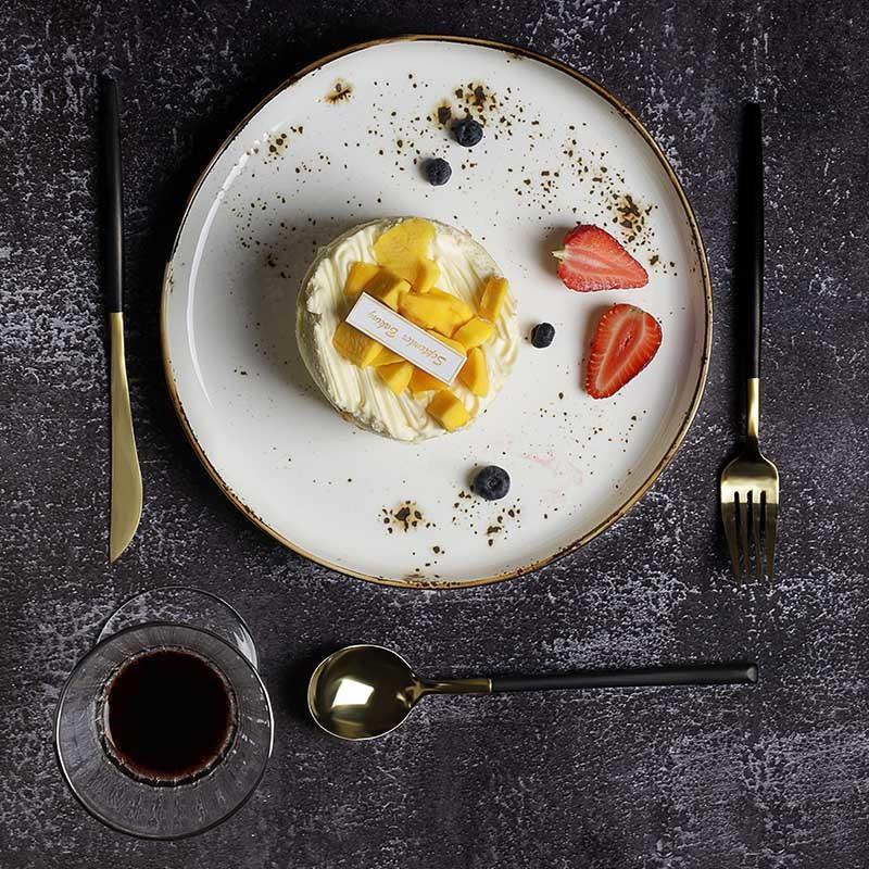 Color Glaze Lounge Vajilla Gourmet Crockery Dish Set, Ceramic Dinnerware Plate, Custom Restaurant Tableware Chinese Plates@
