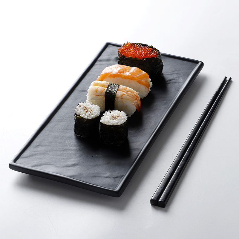 Restaurant Ceramic Black Plate, Good Quality Hotel Japanese Sushi Serving Set, Rectangular Plate Ceramic/
