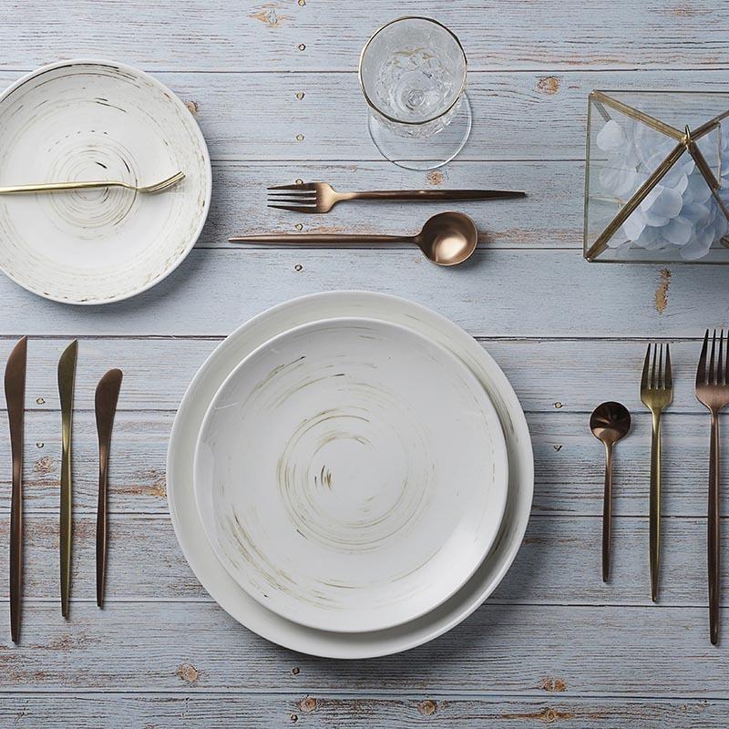 28ceramics Chinese Restaurant Dinnerware 4 Colors 7/9/11 Inch Buffet Plate, Lingt Blue 7/9/11 Inch Ceramic Plate&