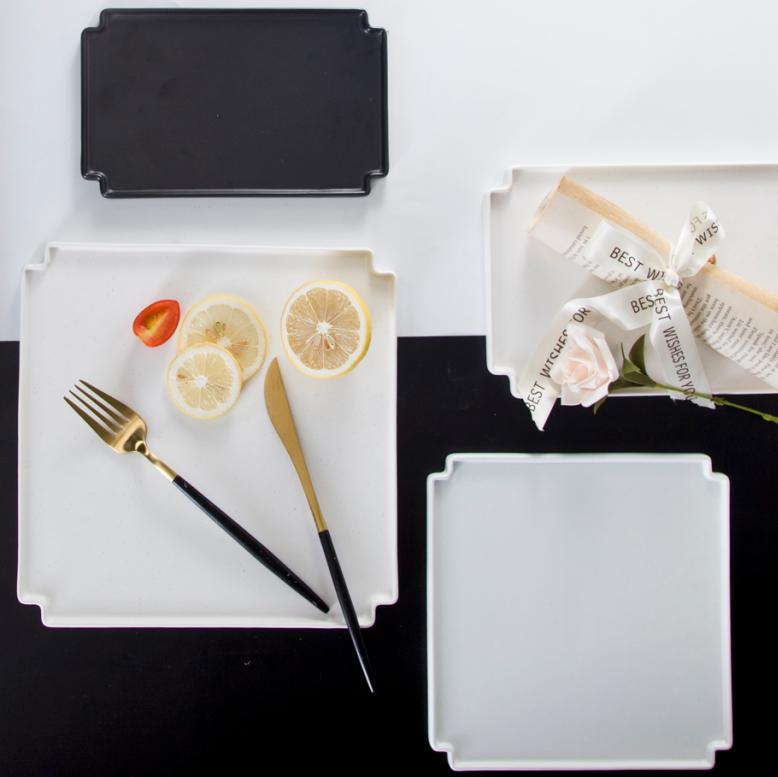 Stylish new design porcelain tableware black matte dinner plate