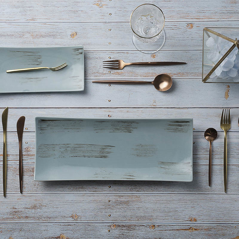 Wholesale Special Used Restaurant Plates, Rustic Lounge Crokery Dishes And Plates, Luxury Lounge Porcelain Rectangle Plates*