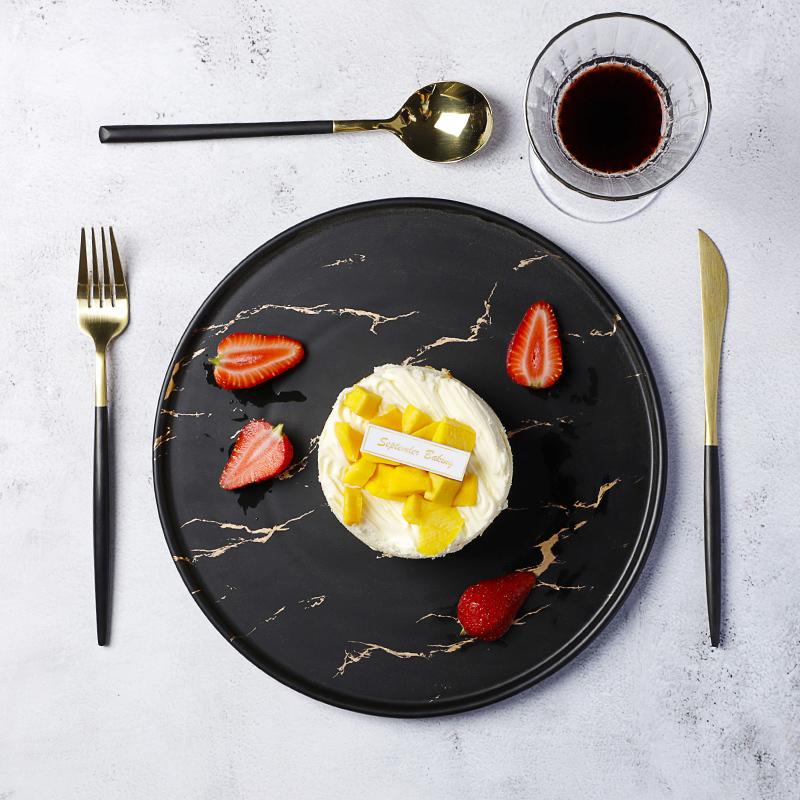 Restaurant Crockery Black Ceramic, Catering Hotel Used Black Marble Dinner Plates, Black And White Plate Matt&