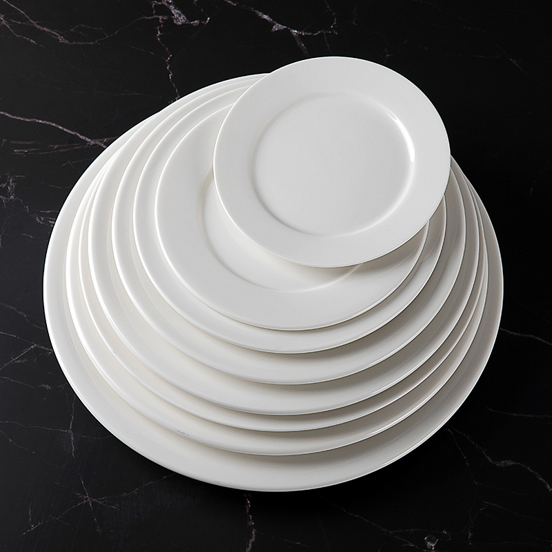 Nice Selling Fine Ceramic Flat Plate Porcelain Dinnerware Plate, All Sizes White Plates For Wedding Hotel