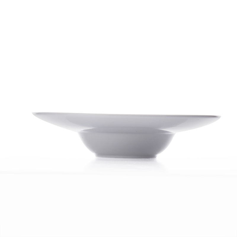 Luxury White Five Star Hotels Restaurant Deep Rim Plate,High Impact Strength Chip Resistance White Hotel Soup Plate %