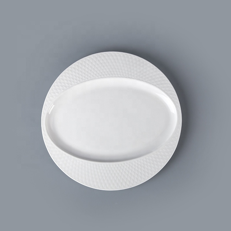 White Bone China Hotel Restaurant Crockery Tableware Oval Plate, Porcelain Plates White Oval Serving Plates Ceramic&