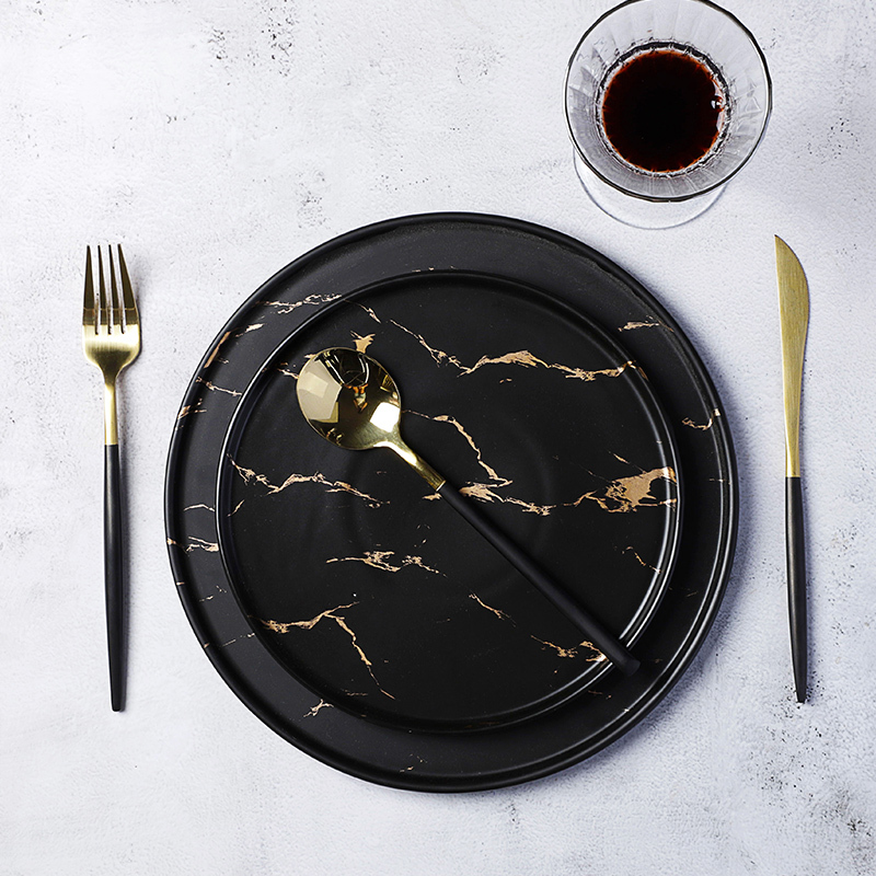 Made In China Cafe Black Gold Marble Dinner Plate Ceramic Black Dishes Luxury, Black Dinner Dish Marble&