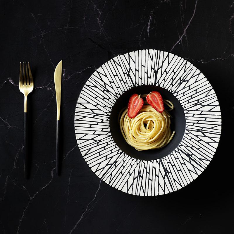 28ceramics Japanese Ceramic Tableware 8/9.5/10.75/12 Inch Black Dishes,Tableware Market In Guangzhou Soup Bowl Ceramic&