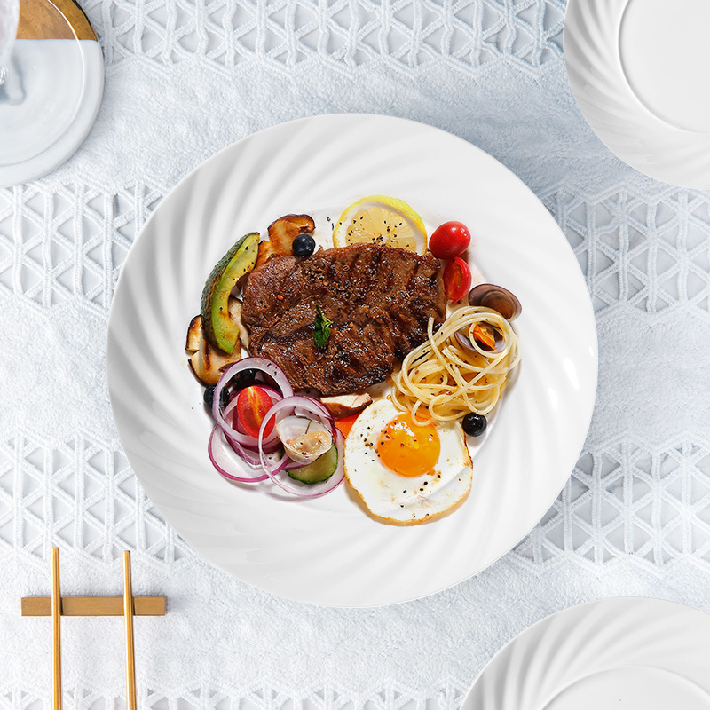 10/12/14inch Dish Washer Safer Plain Ceramic Plates,Elegant Plates Dinnerware Ceramic,White Fancy Wedding Dinner Plate