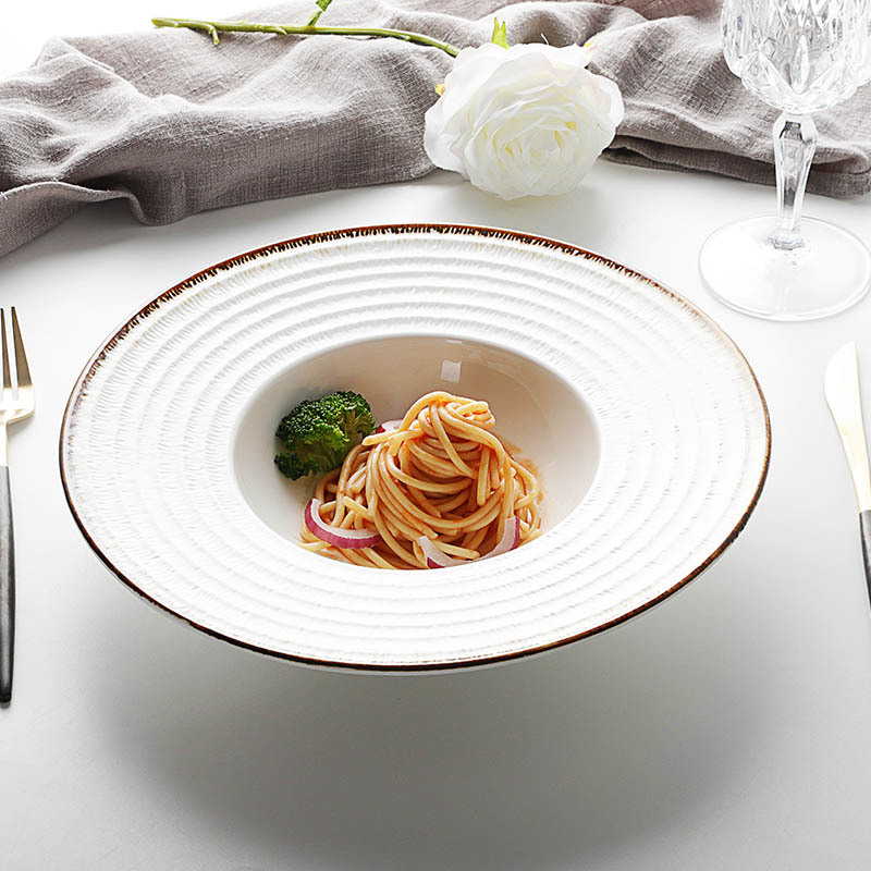 Top Seller in Amazon SGS Certificate Durable Hotelware Serving Dish, Manufacturer Crockery Dish Set, Catering Pasta Plate^