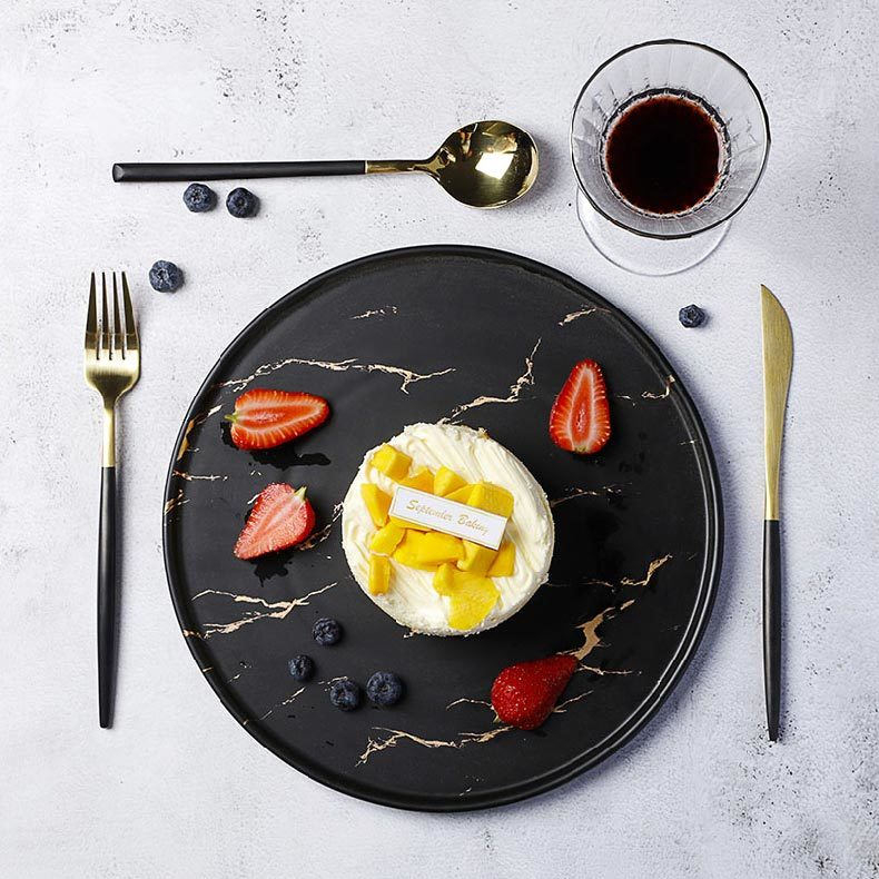 Fine Resort Crokery Dishes Restaurant, Hot Sale Round Marble Ceramic Plates, Special Cafe Dinnerware Black Color Dishes&