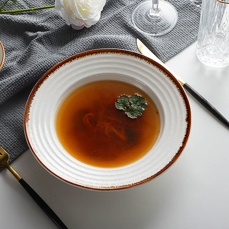 Wholesale Chaozhou Heat Resistant Restaurant Salad Plate,Catering Serving Soup Dishes, Ceramic Spaghetti Plate&
