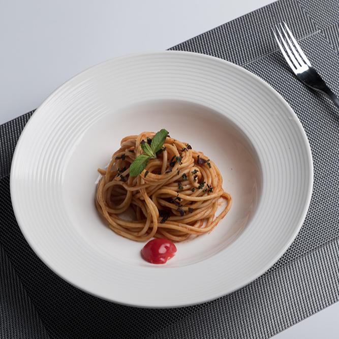 New Products Idea 2019 Oven Safe Catering White Ceramic Soup Plate Set, Platos Blancos de Porcelana para Restaurante%