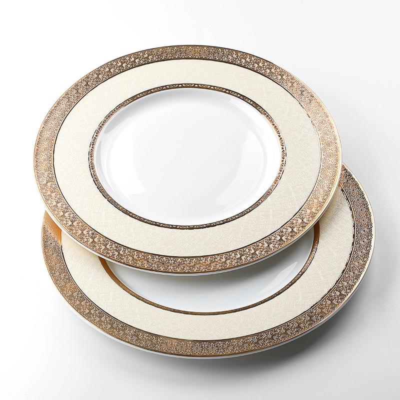 Wholesale China Ware Ceramic Dinner Plate Bone China, Best Quality China Ware Gold Tableware, Fine Bone China Dinner Plate#