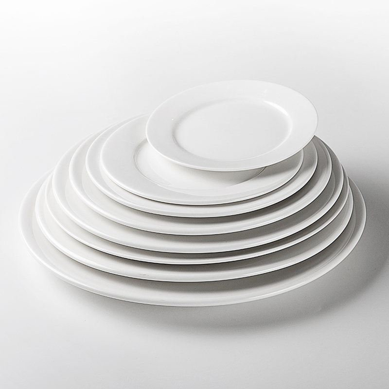 Popular Traditional Hotels Round White Plain Plate, Catering Dinnerware Fine Plain Plate, Porcelain Dish Plate@