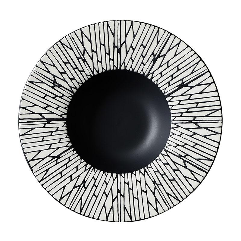 28ceramics Matte Ceramic Tableware Black Color Dishes, 28ceramics Luxury Ceramic Tableware Porcelain Pasta Bowl#