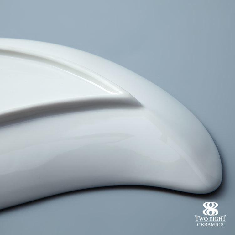 Decorative custom printed leaf shape of mango ceramic tapas plate