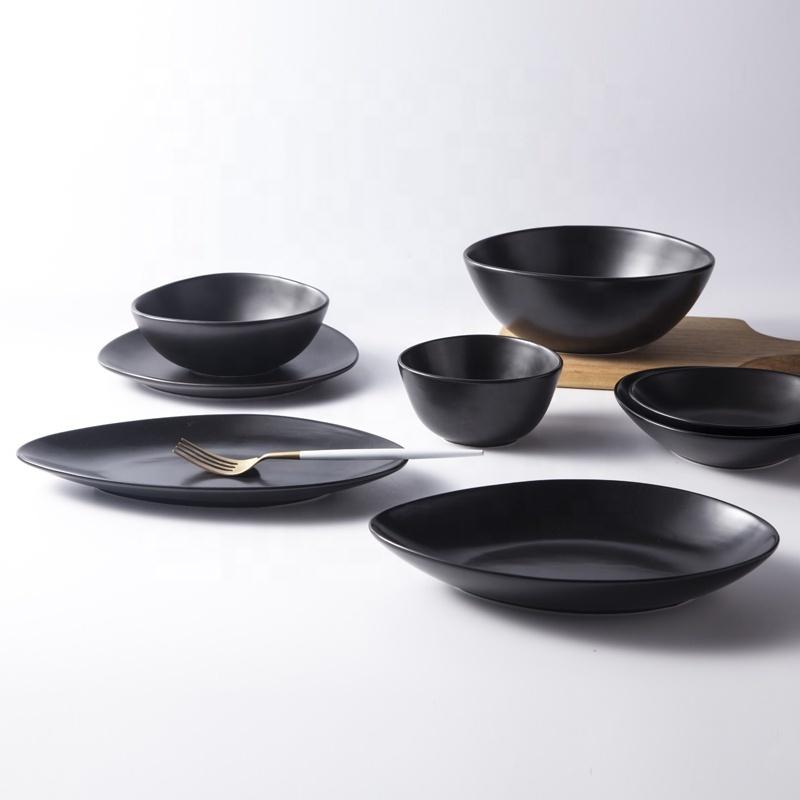 Unique Design Porcelain Matt Black Dish For Restaurants Hotelware, Two Eight Ceramics Porcelain Plate Black Dish^
