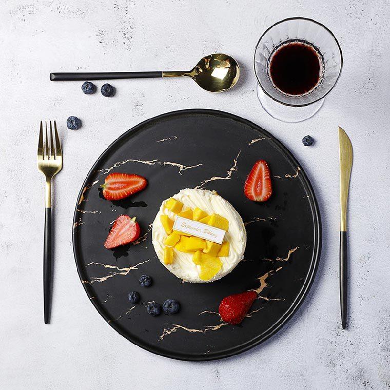 Custom Restaurant Crokery Plate Dish Platter, Special Resort Ceramic Nordic Ceramic Plate, Round Hotel Black Dishes&