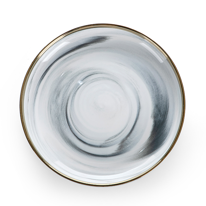 Best Selling Gold Rim Grey Flat Round Ceramic Porcelain Marble Charger Plate, European Gold Rim Grey Marble Dish,Marble Plate^