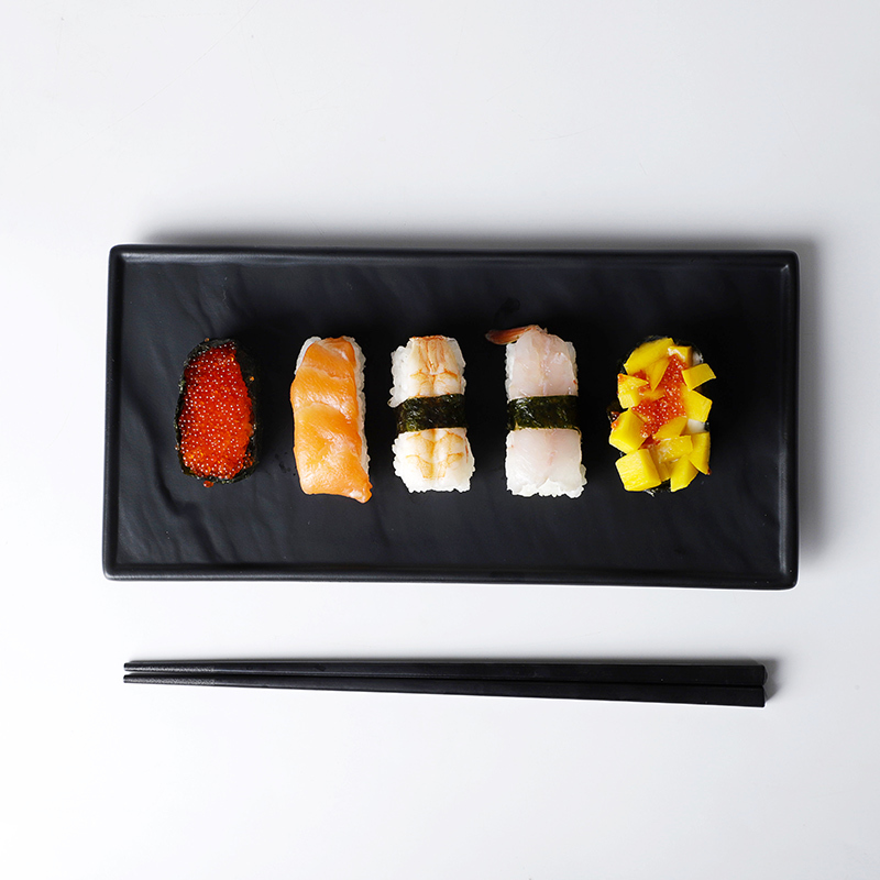 Restaurant Rectangular Dinner Plates, Better Quality Japanese Sushi Plate Ceramic, Hotel Black Stone Slate Steak Plate/